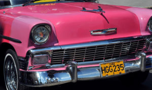 Cuba pink Chevy car Biotrek Adventure Travel Tours